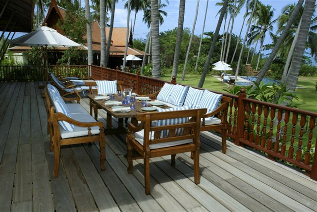 Koh Samui Villa 413 - Large decking area with sun beds and outdoor dining table