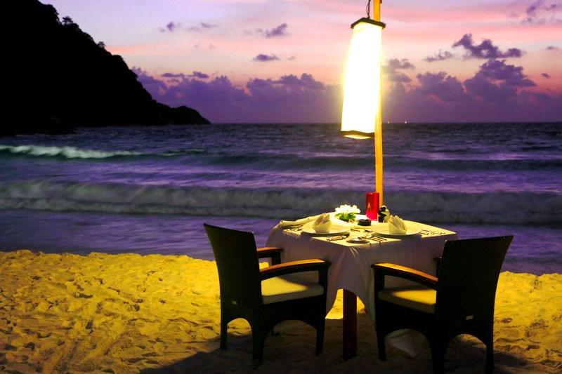Romantic beach dinner in phuket beachfront villas
