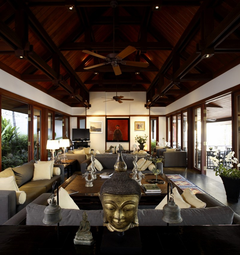 Phuket Villa 423 Dining & Sitting with polished wooden gabled roofs