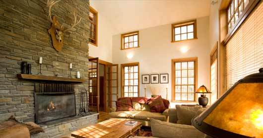 Queenstown Villa 622 - massive stone fireplace in the living area