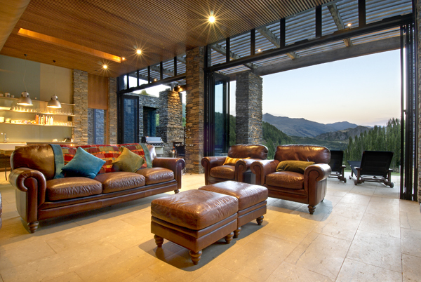 Queenstown Villa 649  - living area and bi-fold doors that open out onto the terrace
