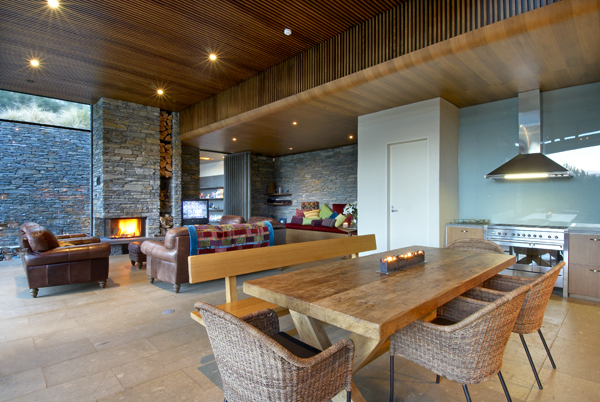 Queenstown Villa 649 - recessed open fireplace and wood store