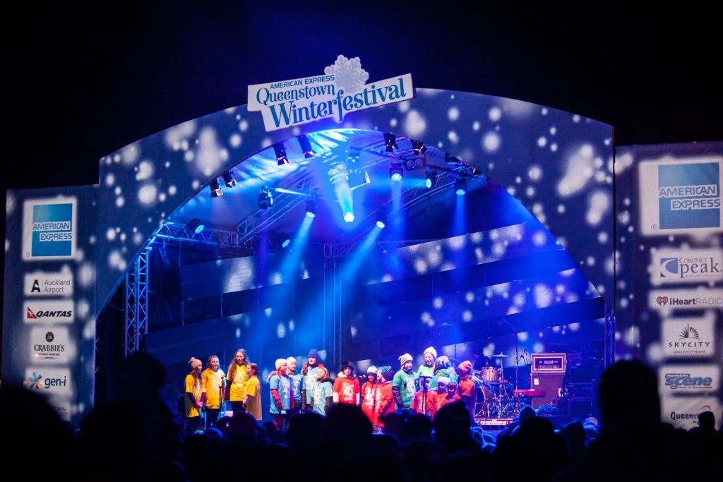 Local Queenstown kids on stage at the American Express Queenstown Winter Festival's opening party and fireworks 2014