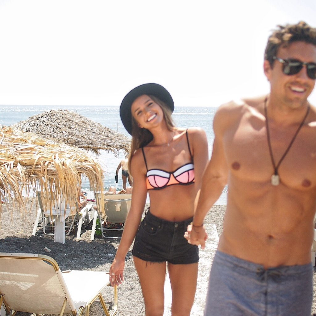 Helen Owen and Zack Kelter in Mykonos, Greece. Traveling to Bali for Villa Getaways